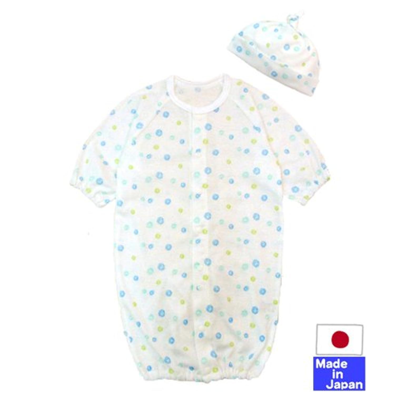 ☆日本製☆クレヨン水玉柄フライス長袖ツーウェイオール+帽子(ブルー系) 綿100% 新生児50-60cm