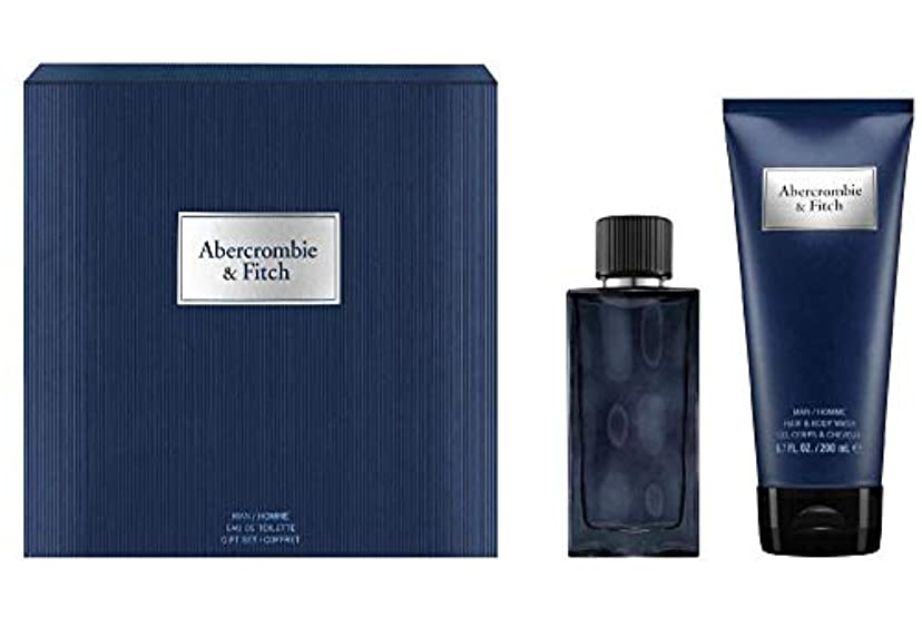 バスルームエステートきらめくアバクロンビー&フィッチ First Instinct Blue Coffret: Eau De Toilette Spray 50ml/1.7oz + Hair & Body Wash 200ml/6.7oz 2pcs...