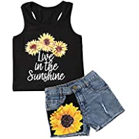 jiaoutky Toddler Kids Baby Girl Watermelon Denim Outfit Clothes Sleeveless Vest Tank Tops + Ripped Jeans Shorts Set