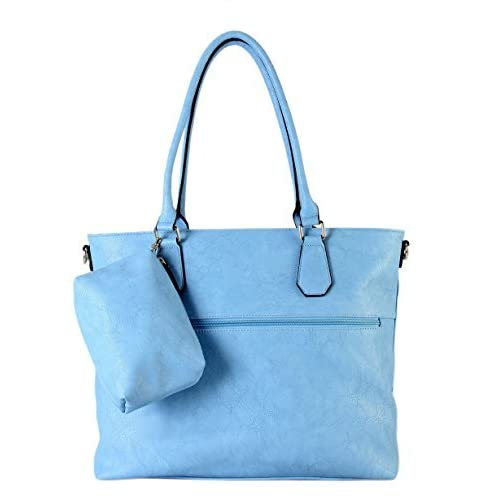 Diaper Bag by Diophy PU Leather Weekender Extra Large Tote With Baby Changing Pad (Blue) by Diophy