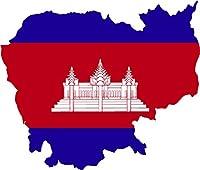 マップwith flagカンボジア内側4x 4.2ステッカーデカールDie Cutビニール–、アメリカで発送