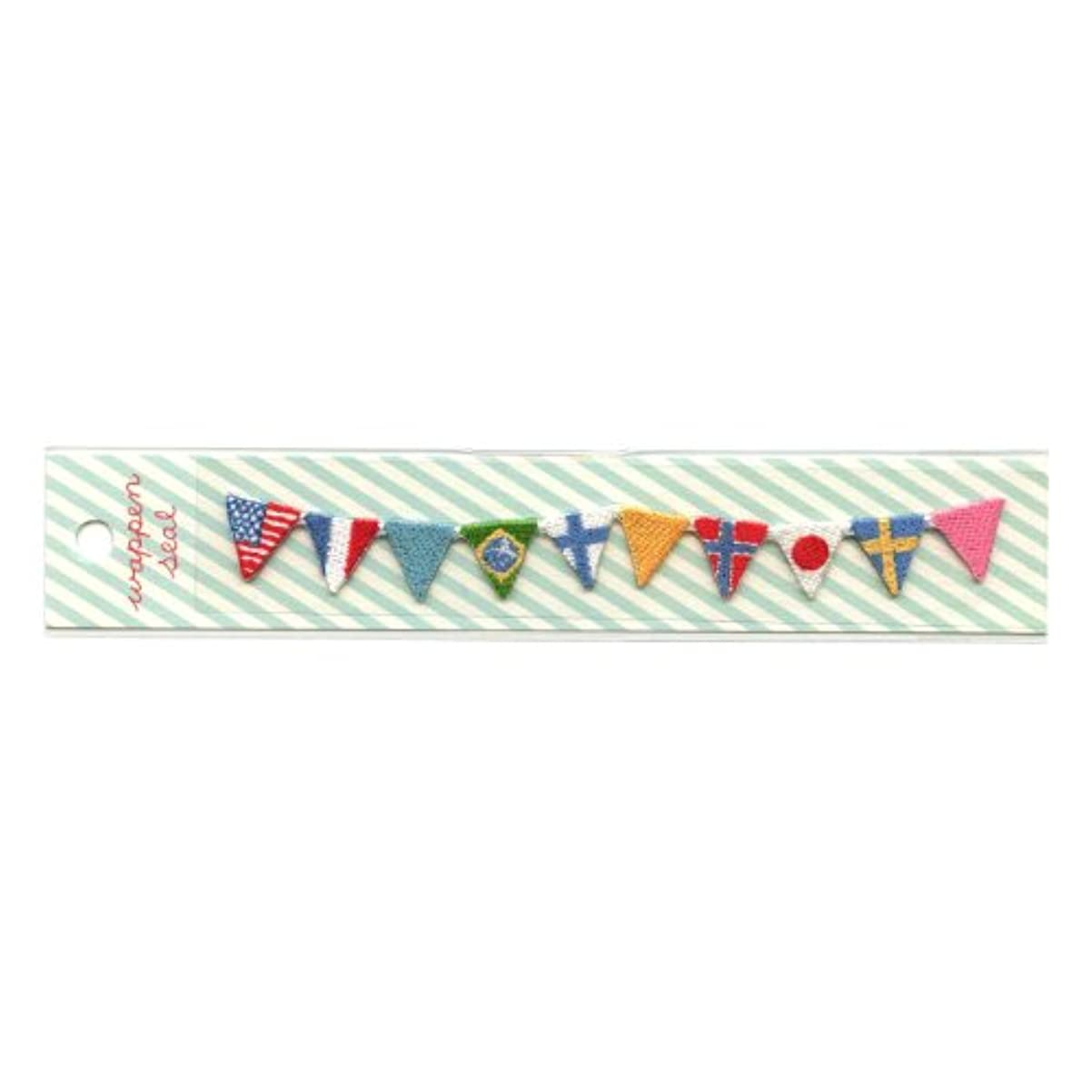 舞い上がる笑いケーキリュリュ 刺繍ワッペンシール 国旗 SWS−12
