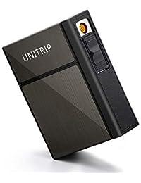 UNITRIP 電子ライター 2イン1 シガレットケース 20本収納 タバコ箱一体入れ可 シガレットケース 電子ライター USB充電式 たばこケース シガレットケース 20本 ライター 電子 無炎 防風 小型 携帯便利 プレゼント