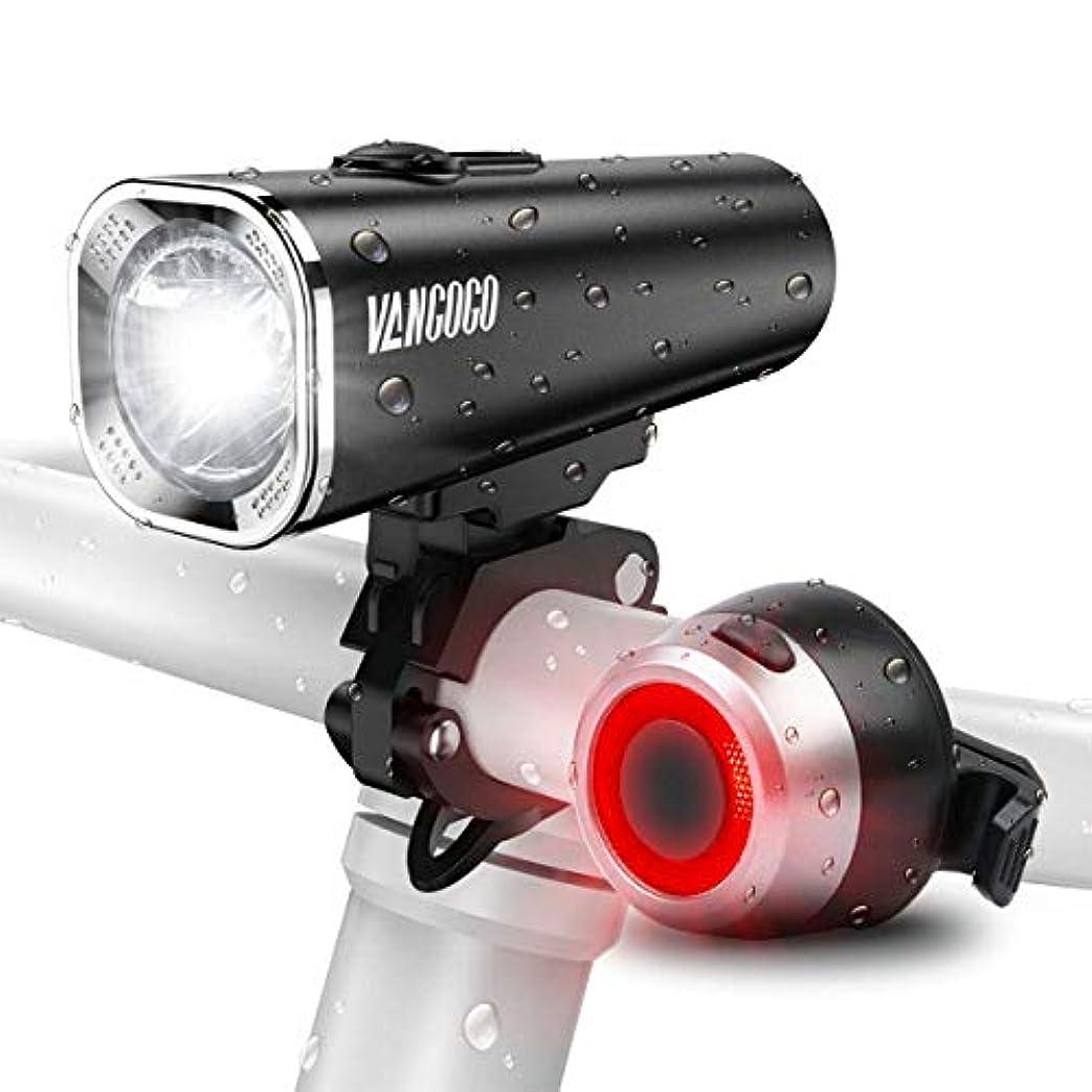 ベッド声を出して余分な自転車ライト VANGOGO FT1 USB充電式 ヘッドライト テールライト付き IPX5 防水 高輝度 防災 2500mah大容量 5モード対応 懐中電灯兼用 500ルーメン 多用途 夜間使用 LEDヘッドライト コンパクト フロント用 自転車フロントライト