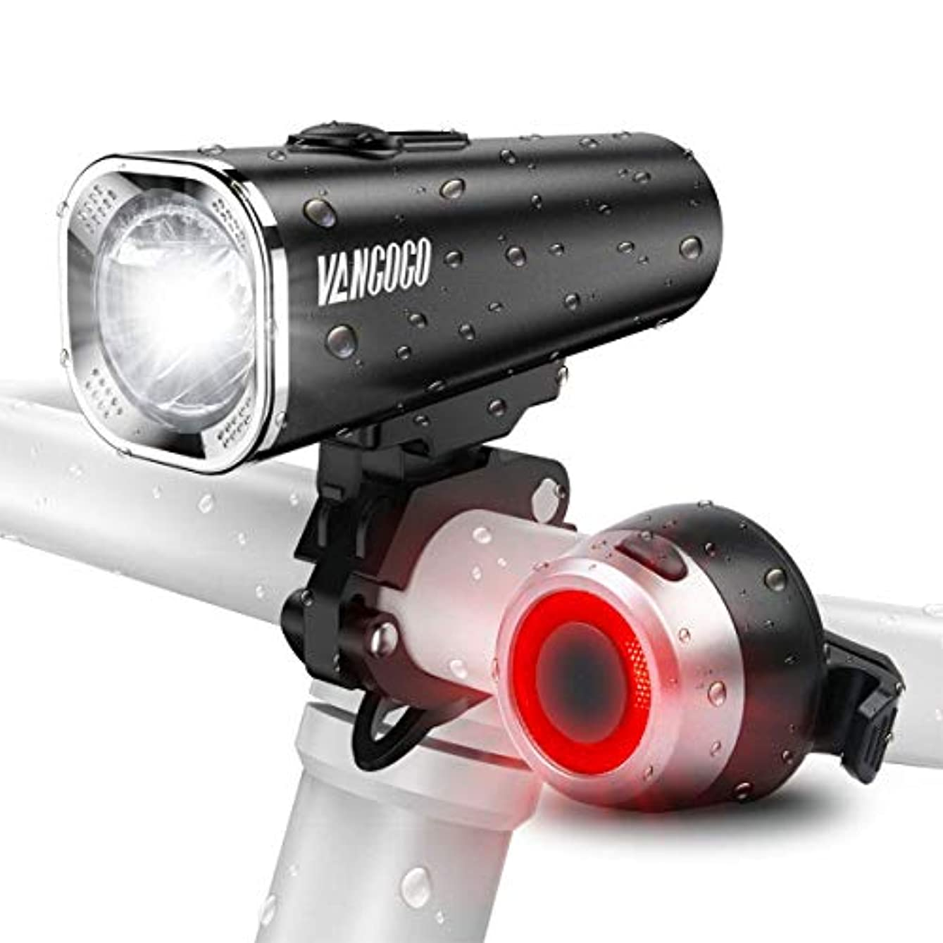 形状道徳の仮定、想定。推測自転車ライト VANGOGO FT1 USB充電式 ヘッドライト テールライト付き IPX5 防水 高輝度 防災 2500mah大容量 5モード対応 懐中電灯兼用 500ルーメン 多用途 夜間使用 LEDヘッドライト コンパクト フロント用 自転車フロントライト