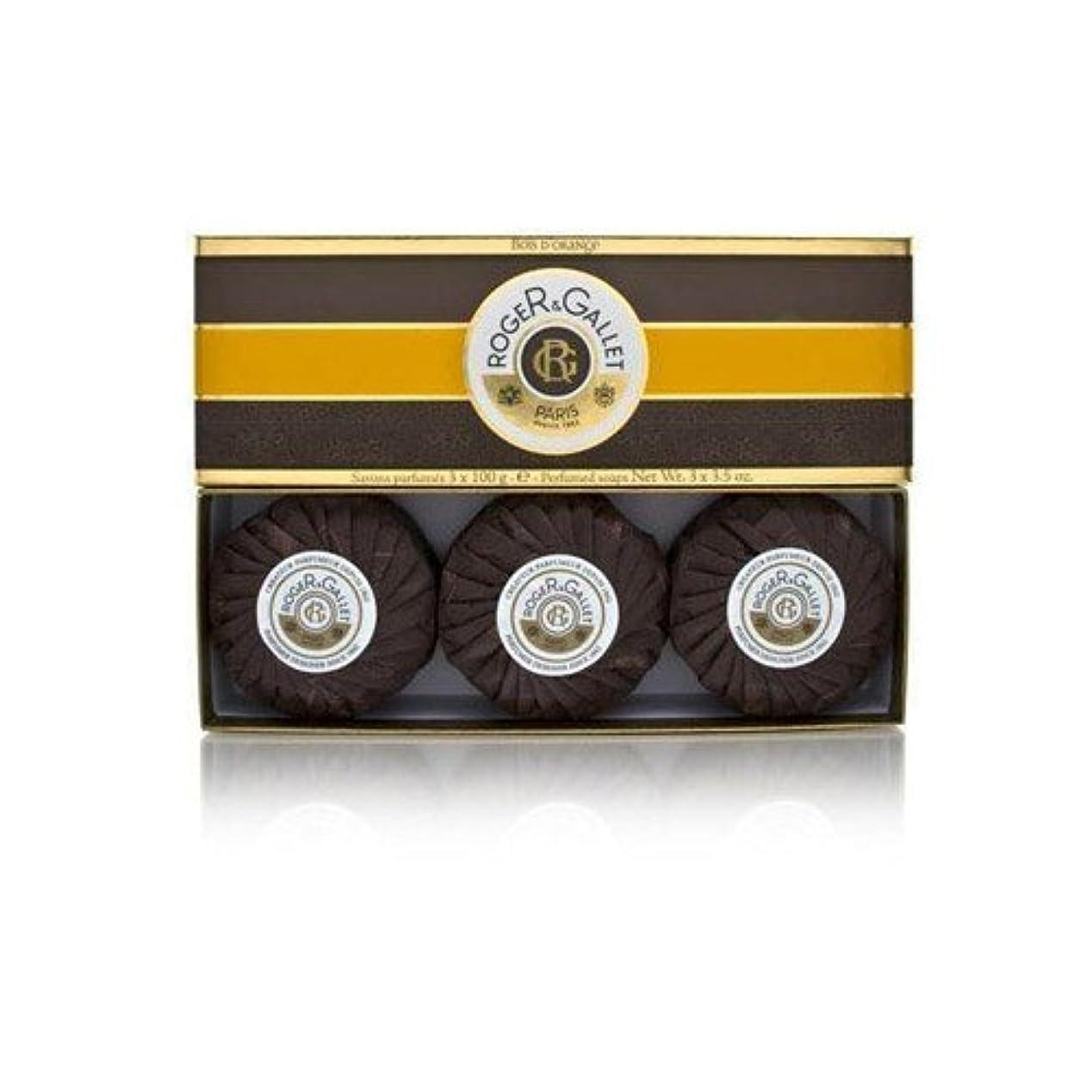 スープバス明日ロジェガレ ボワ ドランジュ (オレンジツリー) 香水石鹸3個セット ROGER&GALLET BOIS D'ORANGE PERFUMED SOAP [0161]