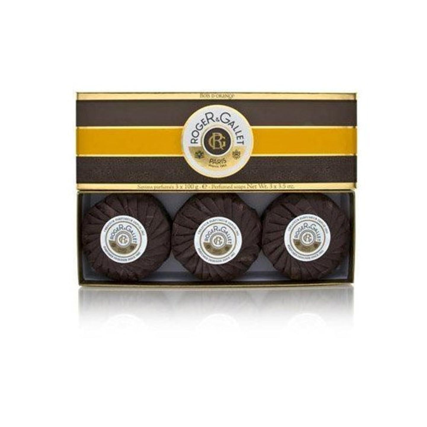 ハリウッド疲労事実上ロジェガレ ボワ ドランジュ (オレンジツリー) 香水石鹸3個セット ROGER&GALLET BOIS D'ORANGE PERFUMED SOAP [0161]