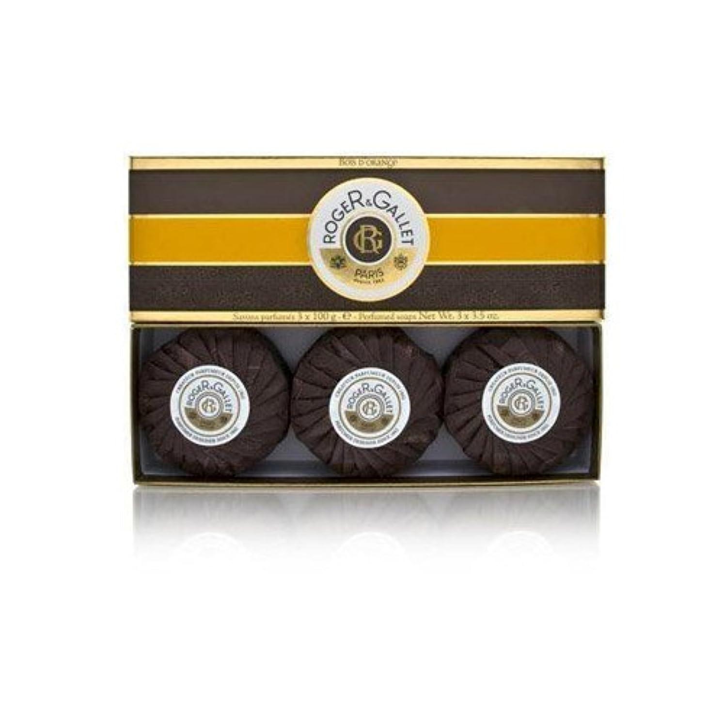 マカダムやりすぎパイロットロジェガレ ボワ ドランジュ (オレンジツリー) 香水石鹸3個セット ROGER&GALLET BOIS D'ORANGE PERFUMED SOAP [0161]