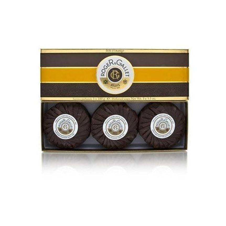 晩ごはん隣接する地獄ロジェガレ ボワ ドランジュ (オレンジツリー) 香水石鹸3個セット ROGER&GALLET BOIS D'ORANGE PERFUMED SOAP [0161]