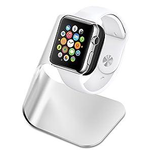 【Spigen】 Apple Watch Series 3 / Apple Watch Series 2 / Apple Watch Series 1 スタンド [ 充電 クレードル ドック ] アップルウォッチ シリーズ 3 / シリーズ 2 / シリーズ 1 38mm/42mm 対応 アルミニウム製 スタンド (S330, シルバー【SGP11555】)