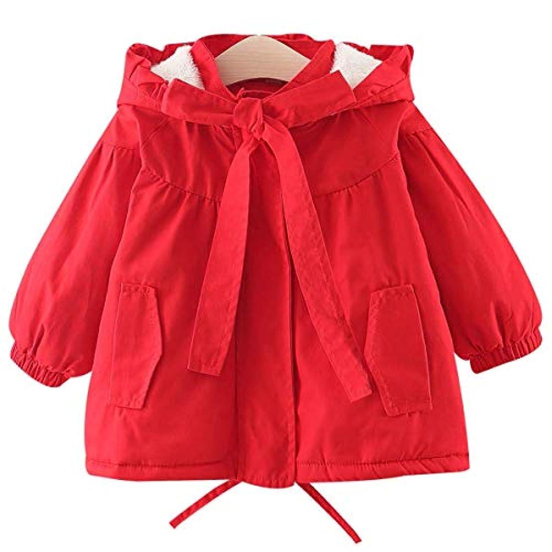 死すべき単語農学2020年秋と冬の新しい女の子の厚い綿のフード付きのウインドブレーカージャケット厚いフリースの裏地赤ん坊の赤ずきんちゃん赤ちゃんのセーターコットンジャケットちょう結びのジャケット3ヶ月から42ヶ月までの子供に適しています