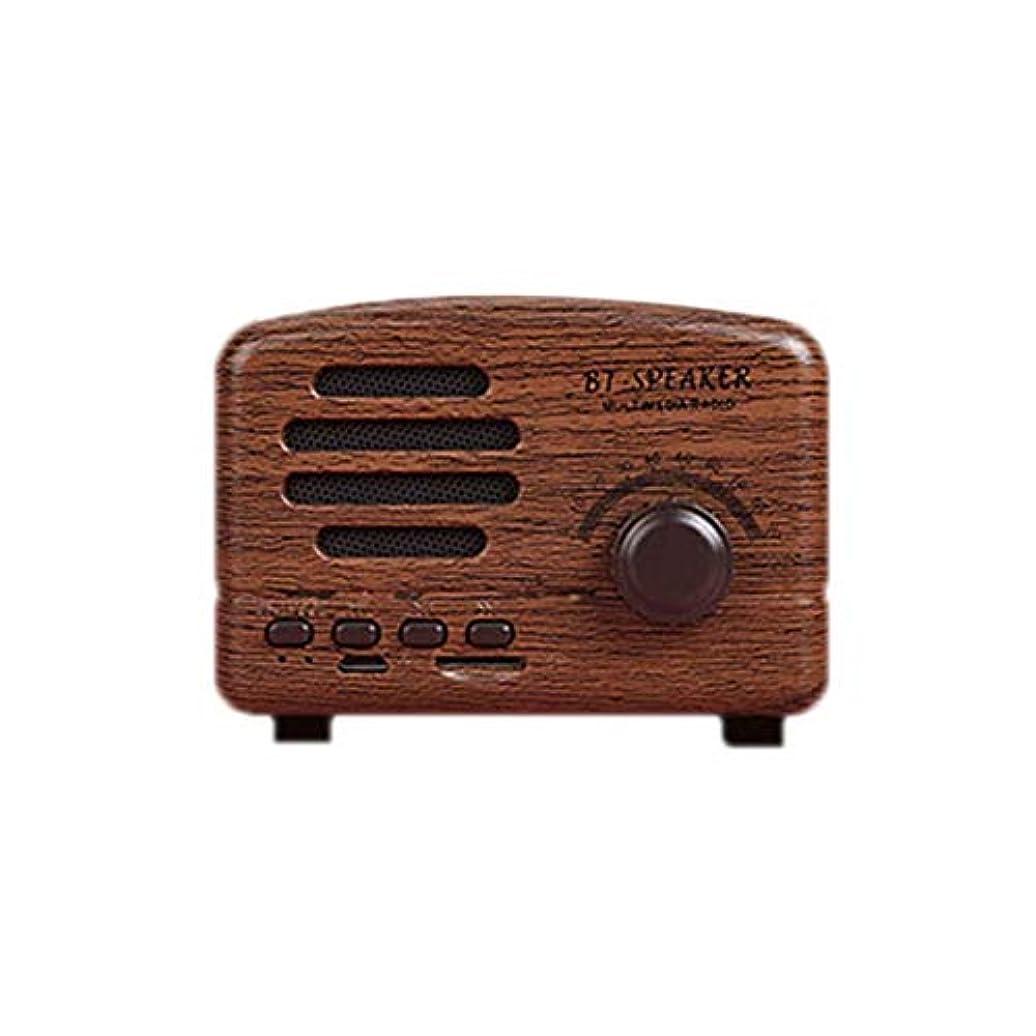 浴確立シフトレトロワイヤレス絶妙なスピーカーミニポータブルアジャスタブルヘビーベーススピーカーサポートTFカードFMラジオ音楽プレーヤー-木目