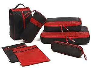 旅行 時 の スーツ ケース の中が スッキリ / トラベル 収納 7点 セット(レッド・ブラック)