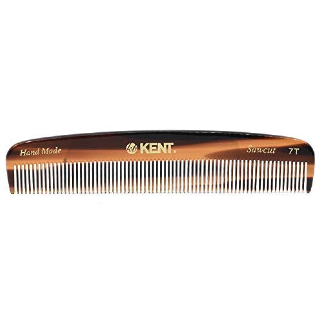 母音反射貼り直すKent 7T - Handmade Fine Teeth Pocket Comb for Men and Women - Cellulose Acetate, Tortoise Shell (5 1/2