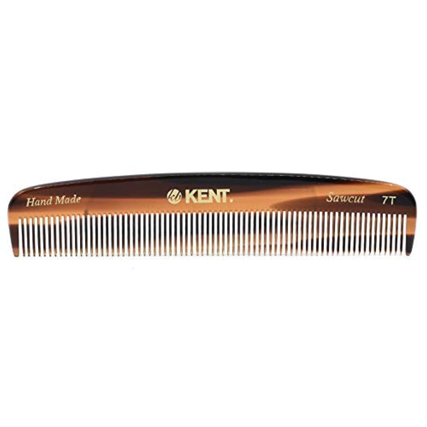 プラス適応的報酬のKent 7T - Handmade Fine Teeth Pocket Comb for Men and Women - Cellulose Acetate, Tortoise Shell (5 1/2