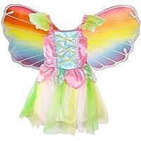 BESTOYARD Girls Fairy Princess Costume Kids Rainbow Butterfly Wings Costume 110-125cm Size M