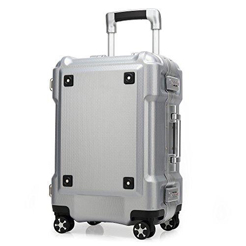 クロース(kroeus)スーツケース 大容量 アルミフレーム キャリーケース 機内持込可 軽量 旅行 出張 TSAロック おしゃれ 耐衝撃 4輪静音ダブルキャスター 仕切り板 クロスベルト ドリンクホルダー ネームタグ ガード 防塵カバー シルバー L