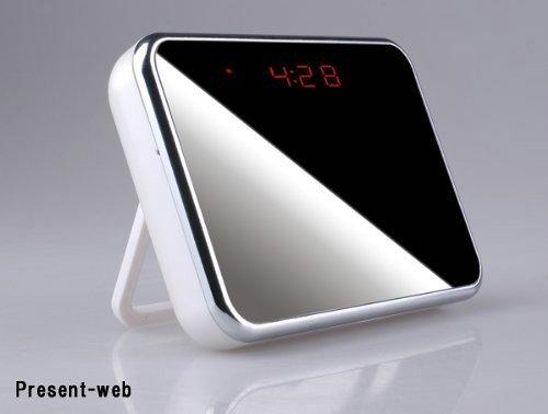 [Present-web] 防犯に! 新型置き時計ビデオカメラ 【500万画素CMOSレンズ】 ホワイト PWF0243