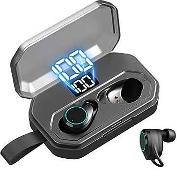 【最新版 LEDディスプレイ Bluetooth イヤホン 】ワイヤレス イヤホン 4000mAh 電池残量インジケーター付き 120時間連続駆動/ 自動ペアリング/携帯へ給電可能/IPX7防水規格/8Dステレオサウンド/Hi-Fi 高音質/音量調整/Siri対応/AAC対応/充電迅速/両耳 左右分離型/二台接続可能 完全ワイヤレス イヤホン/iPhone/iPad/Android適用