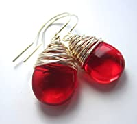 Red Wire Wrapped Earrings Czech Glass Drop Earrings Silver Tone Wire [並行輸入品]