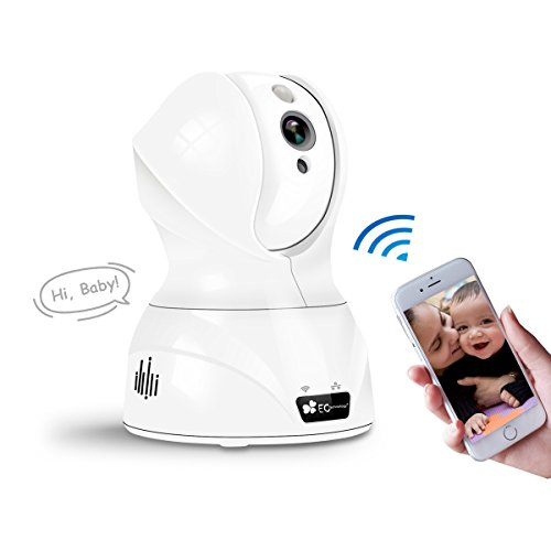 ネットワークカメラ EC Technology ワイヤレスIPカメラ 720P 100万画素 ベビーモニター 監視カメラ WIFI対応 暗視撮影・マイク内蔵通信可能 動体検知 アラーム機能 ペット/子供見守り ホワイト