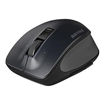 BUFFALO 無線(2.4GHz) BlueLED プレミアムフィットマウス 静音 5ボタン Mサイズ ブラック BSMBW505MBK