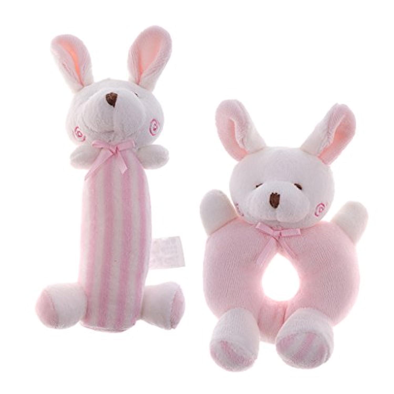 Perfk 全2種類 動物おもちゃ ソフト ハンドベル 楽しい  - ピンクのウサギ