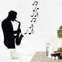 Ansyny サックスプレーヤーウォールステッカー音楽音符Diyの家の装飾ダイニングルームレストランの壁デカール41×59センチ