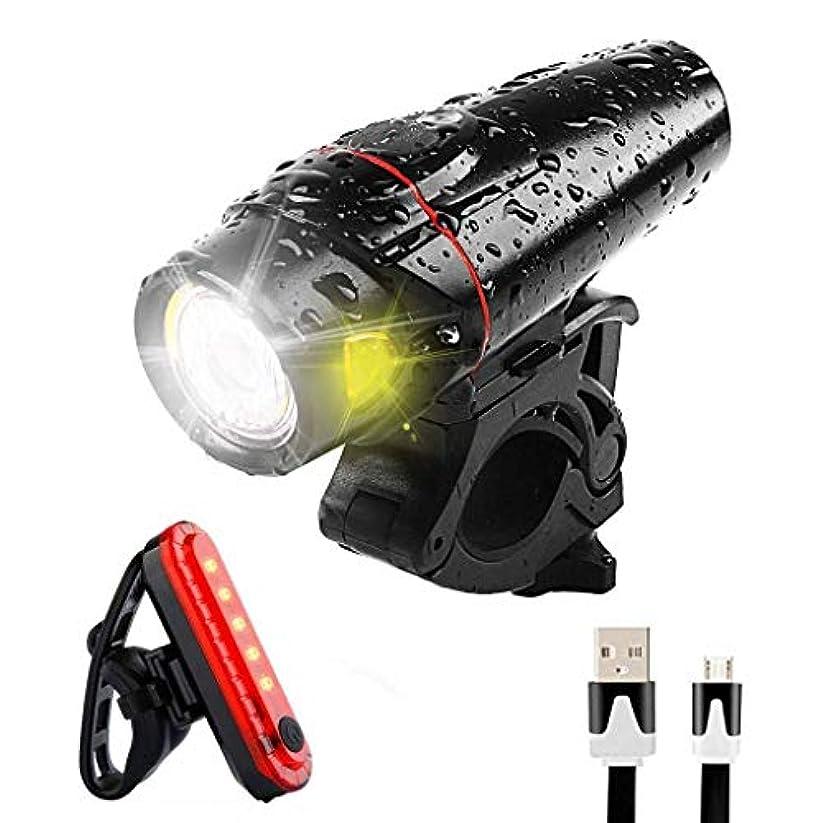 兄療法ロードハウス自転車ライトセットUSB充電式、高輝度 350ルーメン マウンテンバイクのヘッドライト COBテールライト、自転車用ヘッドライト無料テールライト