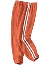 YUEGUANG キッズ ロングパンツ 動きやすい ゆったり サイドライン フライスガーゼ リネン ジュニア 男の子 女の子 ストレッチ 通気性抜群 薄地 人気