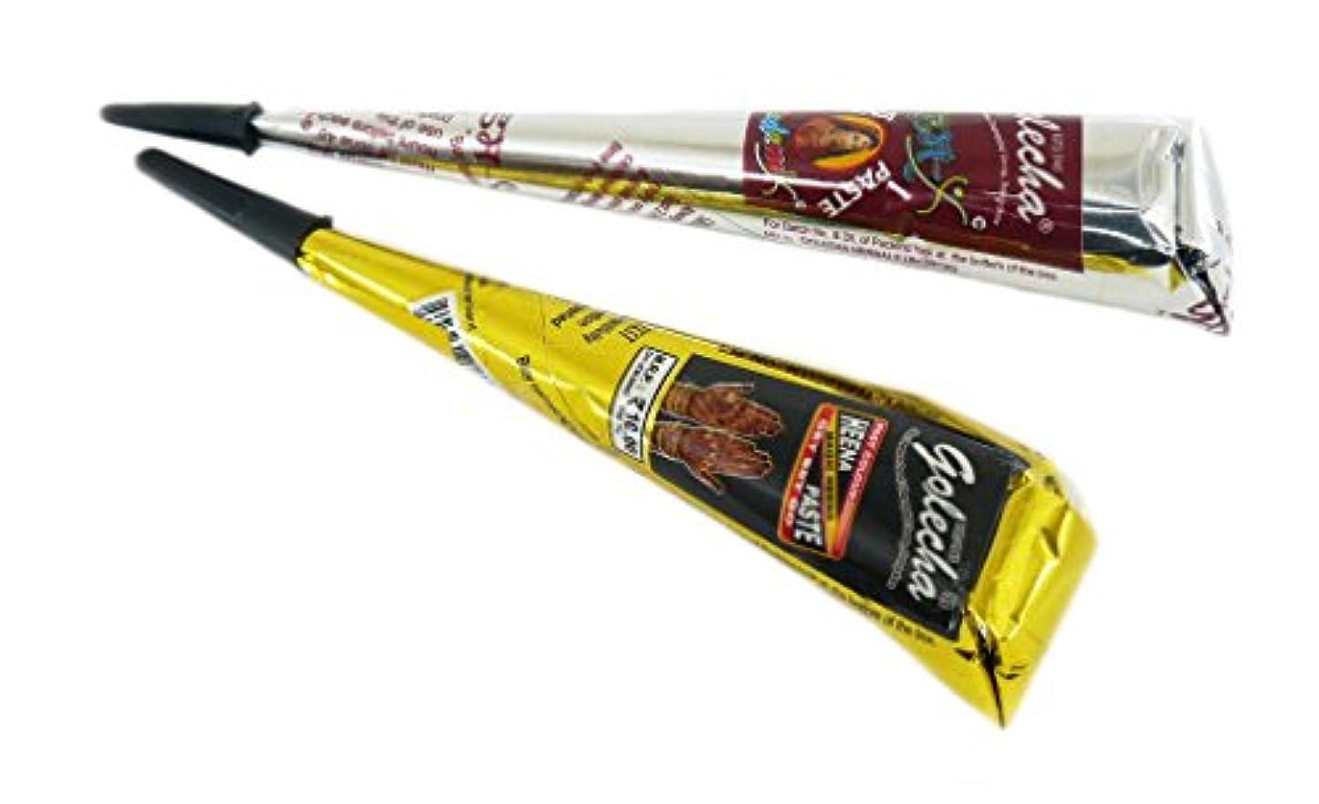 ヘナ タトゥー用 二色セット 一時的な刺青 ブラック オレンジ ヘナ タトゥーペースト 長持ち一週間 チューブタイプ henna タトゥーペン