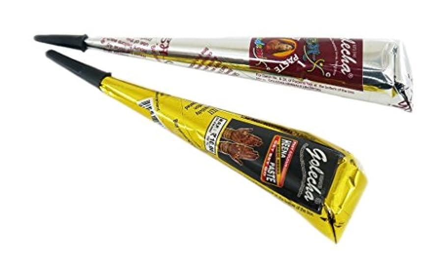可能性自分を引き上げるシアーヘナ タトゥー用 二色セット 一時的な刺青 ブラック オレンジ ヘナ タトゥーペースト 長持ち一週間 チューブタイプ henna タトゥーペン