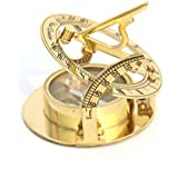 Amazing Design Sundial Compass Round Style Shiny Brass Finish Compass by Collectibles Buy