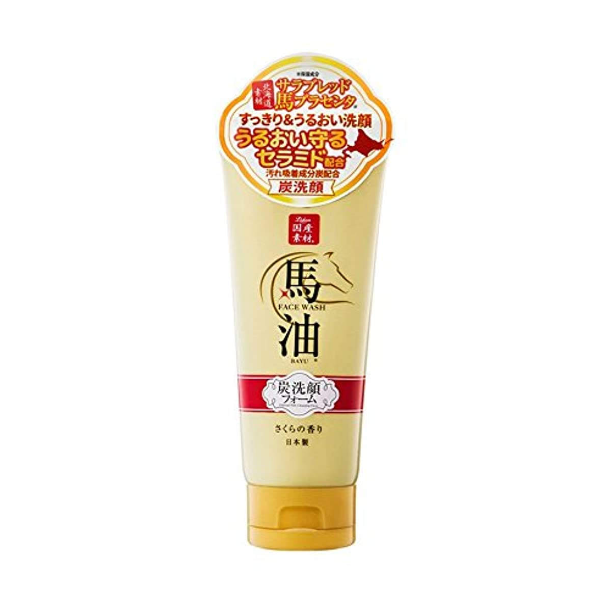 定規セクション隔離リシャン 馬油&炭洗顔フォーム(さくらの香り)(内容量130g)