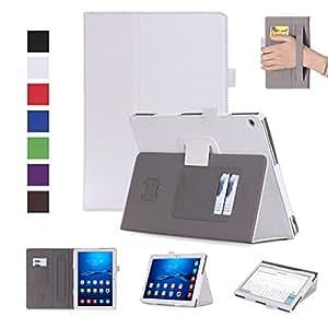HUAWEI MediaPad M3 Lite 10 ケース MaxKu 高級PUレザーケース カバー 手帳型 軽量 全面保護型 スタンド機能付き スマートHuawei 10.1インチ M3 lite 10 カバー(ホワイト)