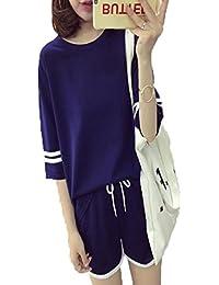 アイビエツ(AIBIETU)レディース 半袖 Tシャツ ショートパンツ上下セット カジュアル 短パン2ピース パジャマ セットアップ