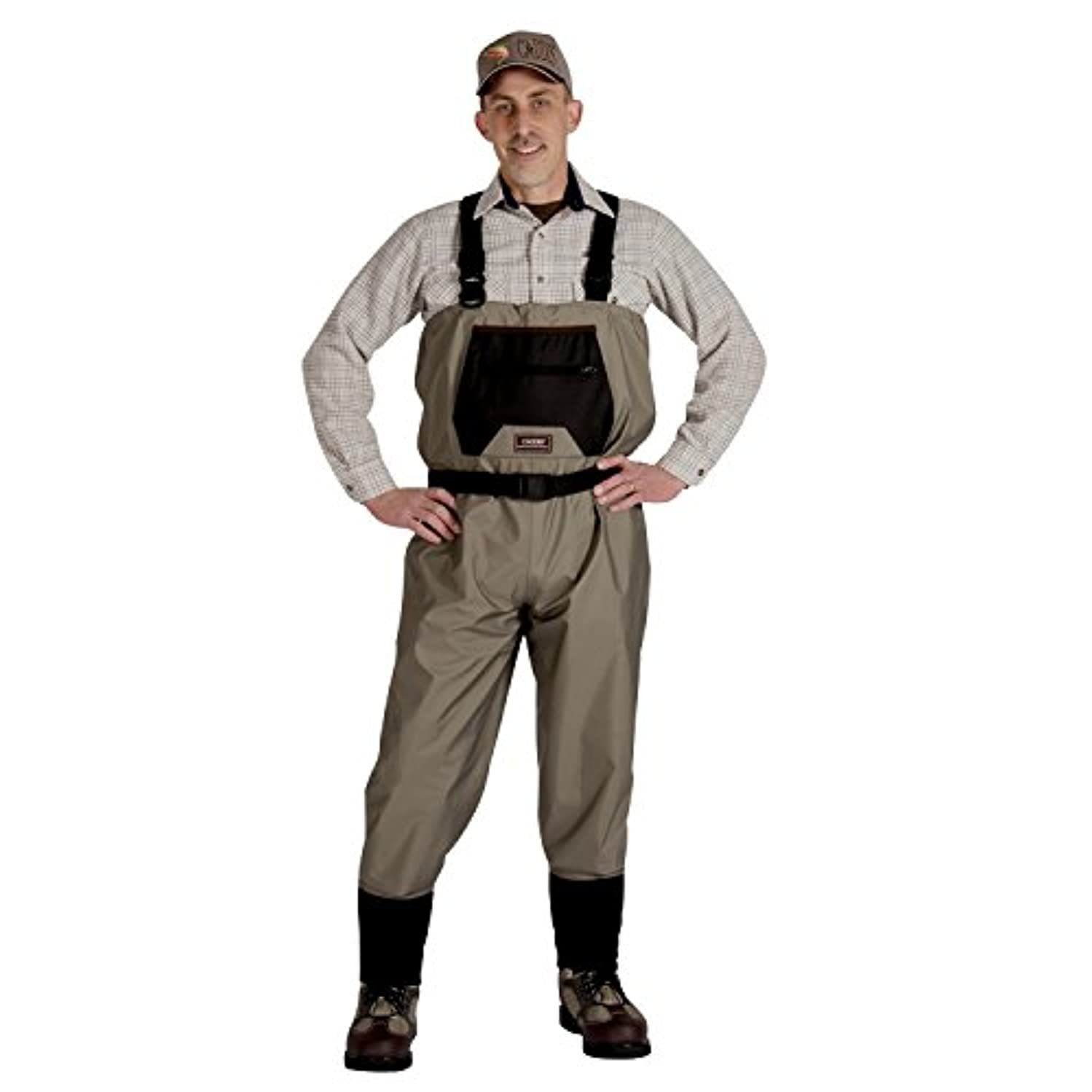 マウント飢えた代表団Caddis Men's Breathable Stockingfoot Waders - L Stout Tan [並行輸入品]