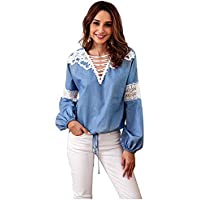 Women's Denim Blue Blouses, Long Sleeve Lace Stitching Tops Large Size V Neck Loose Pullover Shirts for Spring Summer Sports Running Workout Leisure Shopping