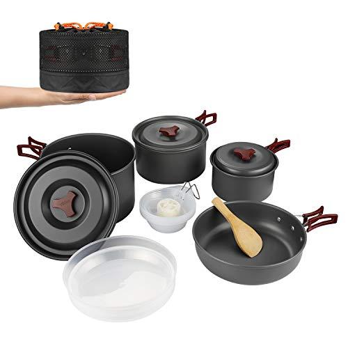 WYAO キャンプクッカー クッカーセット アウトドア鍋 アルミ 調理器具 セット キャンピング鍋 キャンプ 鍋セット アウトドア 収納袋付き (4-5人対応)
