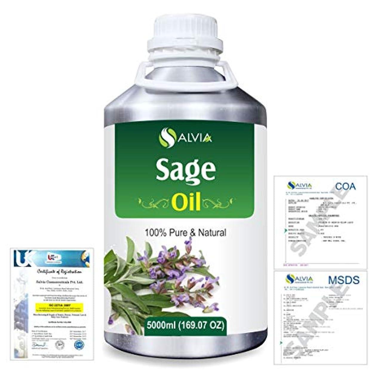 さわやか育成後ろにSage (Salvia officinalis) 100% Natural Pure Essential Oil 5000ml/169fl.oz.