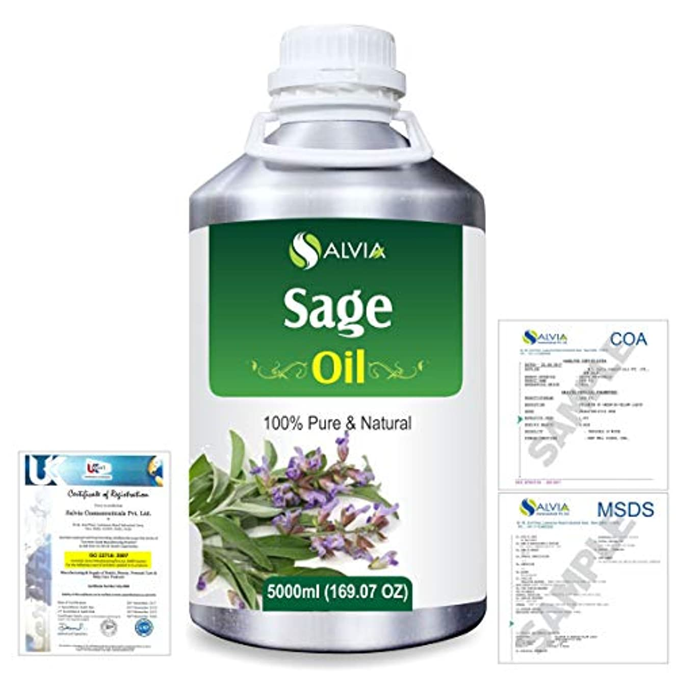 堤防浴手当Sage (Salvia officinalis) 100% Natural Pure Essential Oil 5000ml/169fl.oz.