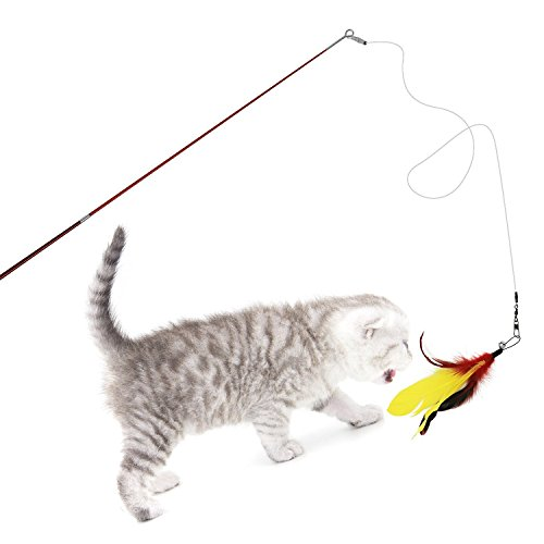 エンジェルペット『猫じゃらし天然鳥の羽棒鈴付き』