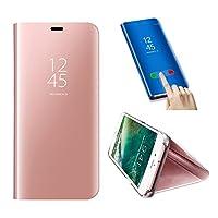 対応 HuaWei P10、対応 HuaWei P10ケースミラー、SevenPandaフリップスタンド用携帯電話ケースメタルラグジュアリーミラー透明ケースカバースマートスリープ/ウェイク機能超薄型キラキラクリスタルラインストーンブックPCハードアルミスクラッチ耐衝撃性携帯電話ケースシェルカバー - ピンク