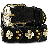 MoYoTo® Women's Fashion 38mm Wide Leather Dress Belt with Rhinestone Buckle
