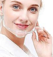 フェイスシールド フェイスガード 透明マスク 10枚入り 耳が痛くない マウスシールド 業務用 飲食用 マスクシールド Mouth Shield 熱中症対策 飛散防止 ウイルス対策 7990647