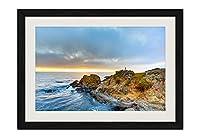 海、海岸、夕日 風景の写真 黒色の木製フレーム 額縁 壁掛け ホーム装飾画 装飾的な絵画 壁の装飾 ポスター(40x60cm)