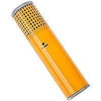アルミ合金シガージャーチューブヒュミドールW/加湿器湿度計葉巻保湿箱(イエロー) XYDHB-030-1