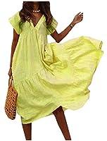 Nicellyer 女性のバギービッグスイング立体カラーVネック不規則マキシドレス Yellow S