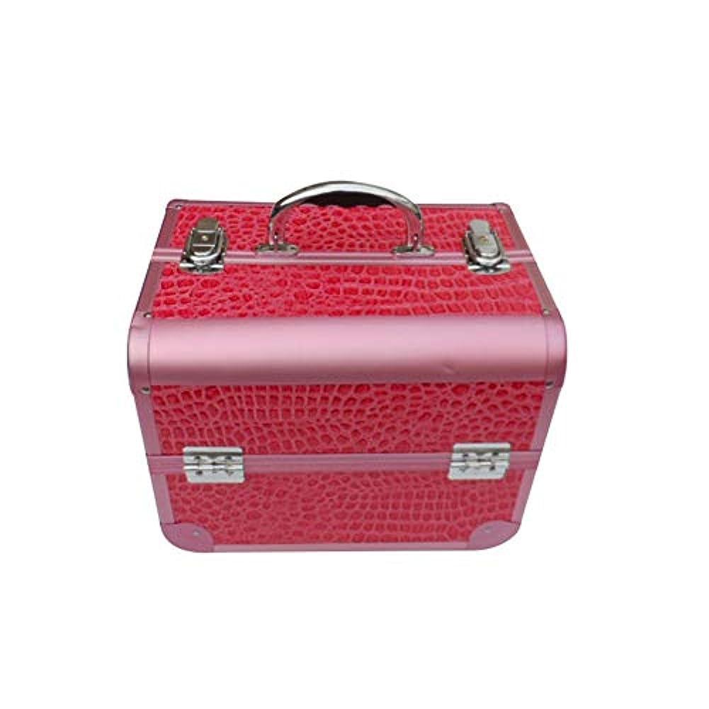 化粧オーガナイザーバッグ 女の子の女性のための美容メイクアップのための大容量ポータブル化粧品ケース旅行と拡張トレイ付きロック付きデイリーストレージ 化粧品ケース