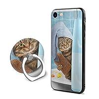 かわいい 面白い ネコ 猫柄 Iphone 7 / Iphone 8携帯電話ケースカバーとリング付きリングリングファッションフル表面保護印刷衝撃高品質パターンiphone 7/8ケースTPUソフトウェ人気NO.1 ケース 4.7インチアユニセックスデュアル目的